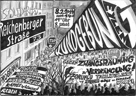 8.2.2014 Kundgebung gegen Zwangsräumungen